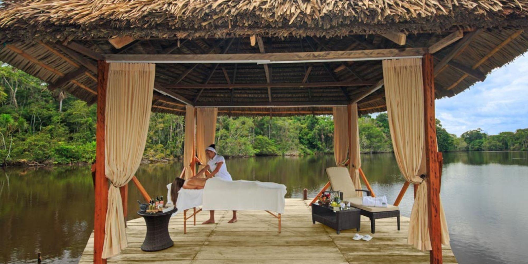 Getting a massage in the Amazon Jungle
