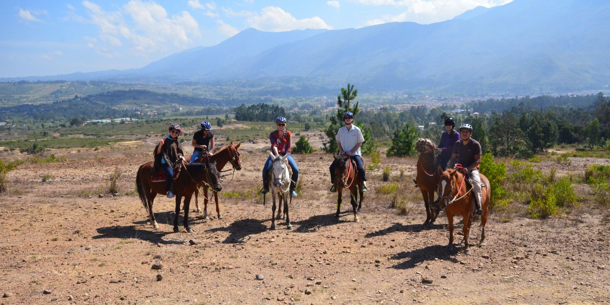 riding horses in Colombia on family trip