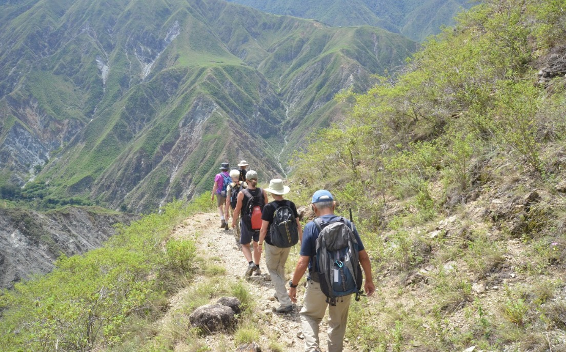hiking in Colombia hillsides